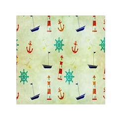 Vintage Seamless Nautical Wallpaper Pattern Small Satin Scarf (Square)