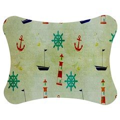 Vintage Seamless Nautical Wallpaper Pattern Jigsaw Puzzle Photo Stand (Bow)