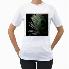 Feather Peacock Drops Green Women s T Shirt (white) (two Sided)