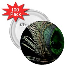 Feather Peacock Drops Green 2.25  Buttons (100 pack)