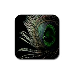 Feather Peacock Drops Green Rubber Square Coaster (4 pack)
