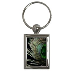 Feather Peacock Drops Green Key Chains (Rectangle)