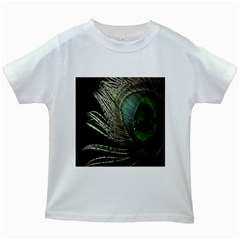 Feather Peacock Drops Green Kids White T-Shirts