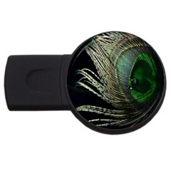 Feather Peacock Drops Green USB Flash Drive Round (1 GB)