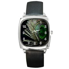 Feather Peacock Drops Green Square Metal Watch