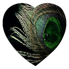 Feather Peacock Drops Green Jigsaw Puzzle (Heart)