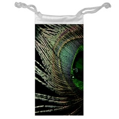 Feather Peacock Drops Green Jewelry Bag