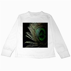 Feather Peacock Drops Green Kids Long Sleeve T-Shirts