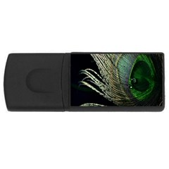 Feather Peacock Drops Green Usb Flash Drive Rectangular (4 Gb)