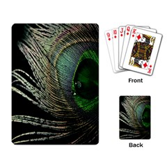 Feather Peacock Drops Green Playing Card