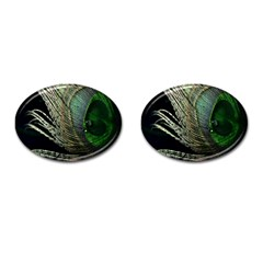 Feather Peacock Drops Green Cufflinks (Oval)