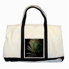 Feather Peacock Drops Green Two Tone Tote Bag