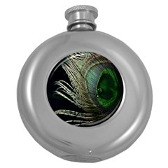 Feather Peacock Drops Green Round Hip Flask (5 Oz)