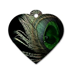 Feather Peacock Drops Green Dog Tag Heart (two Sides)