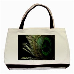 Feather Peacock Drops Green Basic Tote Bag (Two Sides)