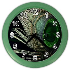 Feather Peacock Drops Green Color Wall Clocks