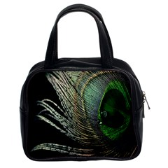 Feather Peacock Drops Green Classic Handbags (2 Sides)