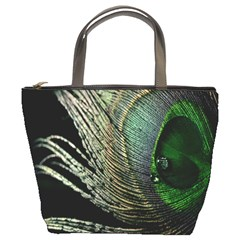 Feather Peacock Drops Green Bucket Bags
