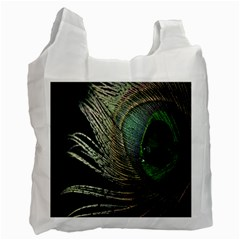 Feather Peacock Drops Green Recycle Bag (two Side)