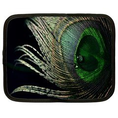Feather Peacock Drops Green Netbook Case (XXL)