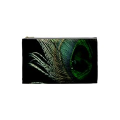 Feather Peacock Drops Green Cosmetic Bag (small)