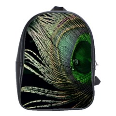 Feather Peacock Drops Green School Bags(Large)