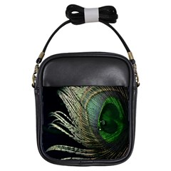 Feather Peacock Drops Green Girls Sling Bags