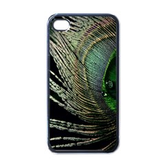 Feather Peacock Drops Green Apple iPhone 4 Case (Black)