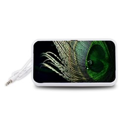 Feather Peacock Drops Green Portable Speaker (White)