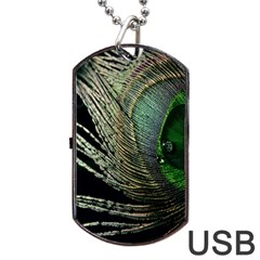 Feather Peacock Drops Green Dog Tag USB Flash (One Side)