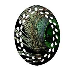 Feather Peacock Drops Green Oval Filigree Ornament (Two Sides)