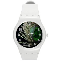 Feather Peacock Drops Green Round Plastic Sport Watch (M)