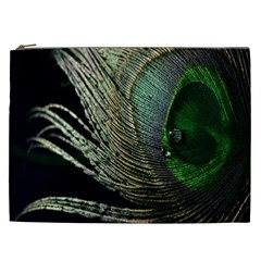 Feather Peacock Drops Green Cosmetic Bag (XXL)