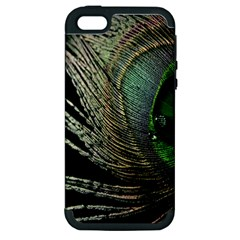 Feather Peacock Drops Green Apple iPhone 5 Hardshell Case (PC+Silicone)