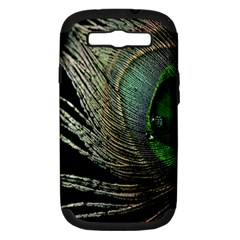 Feather Peacock Drops Green Samsung Galaxy S III Hardshell Case (PC+Silicone)