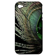 Feather Peacock Drops Green Apple iPhone 4/4S Hardshell Case (PC+Silicone)