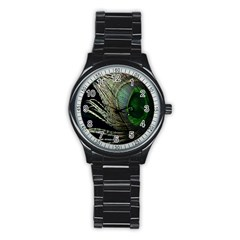 Feather Peacock Drops Green Stainless Steel Round Watch