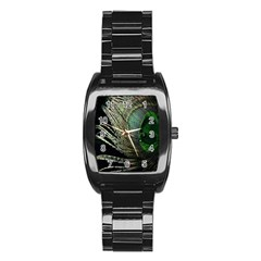 Feather Peacock Drops Green Stainless Steel Barrel Watch