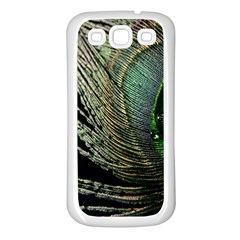 Feather Peacock Drops Green Samsung Galaxy S3 Back Case (White)