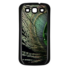 Feather Peacock Drops Green Samsung Galaxy S3 Back Case (black)