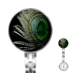 Feather Peacock Drops Green Stainless Steel Nurses Watch