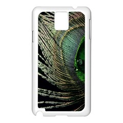 Feather Peacock Drops Green Samsung Galaxy Note 3 N9005 Case (white)