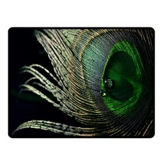 Feather Peacock Drops Green Double Sided Fleece Blanket (Small)