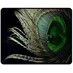 Feather Peacock Drops Green Double Sided Fleece Blanket (Medium)