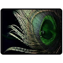Feather Peacock Drops Green Double Sided Fleece Blanket (Large)