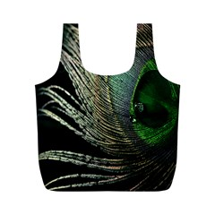 Feather Peacock Drops Green Full Print Recycle Bags (M)