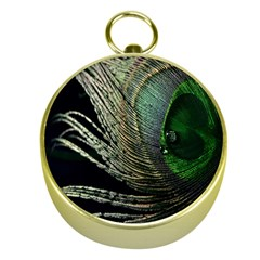 Feather Peacock Drops Green Gold Compasses