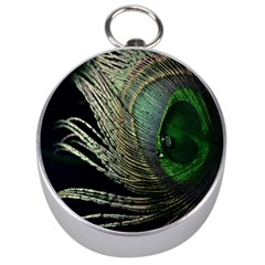 Feather Peacock Drops Green Silver Compasses
