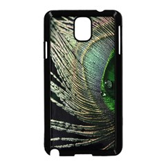 Feather Peacock Drops Green Samsung Galaxy Note 3 Neo Hardshell Case (Black)