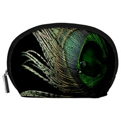 Feather Peacock Drops Green Accessory Pouches (Large)